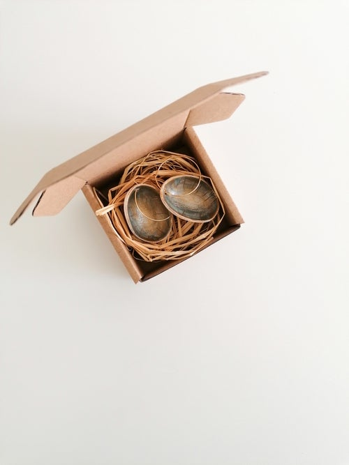 Image of Eggshell Earrings in Golden and Gray