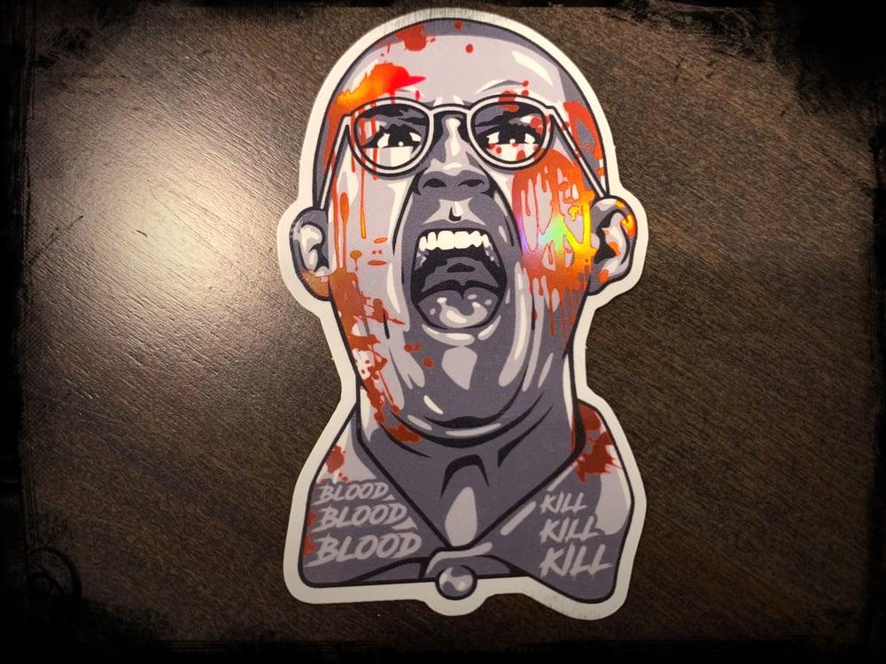 """Image of Workshop 432's """"Blood, Blood, Blood"""" Holographic Sticker"""