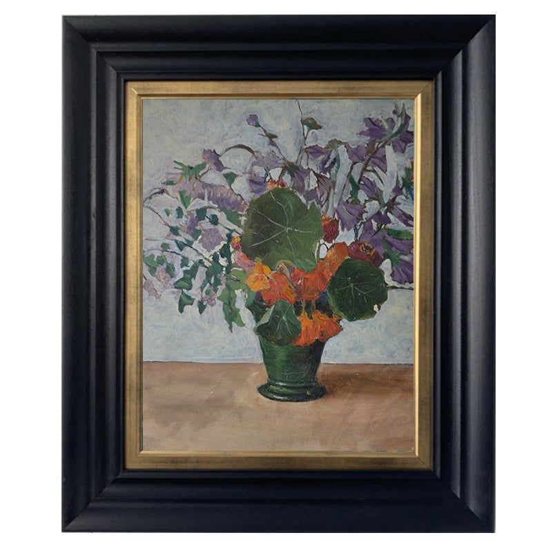 Image of Mid 20thC, French Oil Painting, 'Nasturtiums and Canterbury Bells'