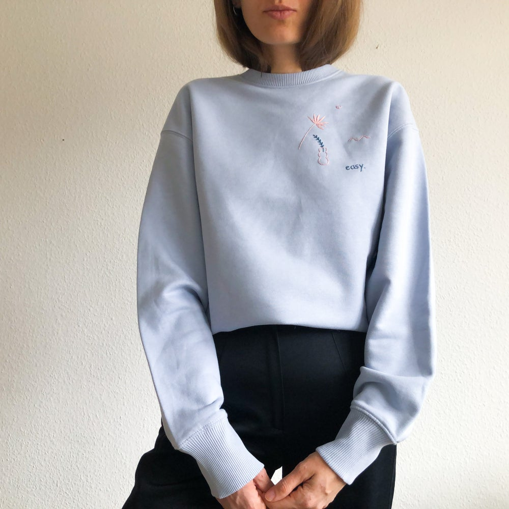 Image of Preorder: Easy - hand embroidered organic cotton sweatshirt, Unisex, available in ALL sizes
