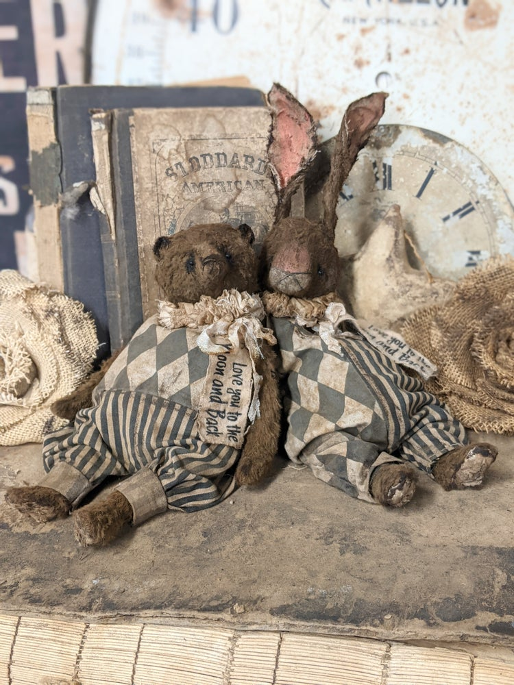 """Image of Love you to the Moon - 11"""" Chocolate Rabbit in Harlequin romper by WHendi's Bears"""