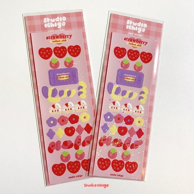 Image of Strawberry Collect Club Glitter Seal Sticker Sheet