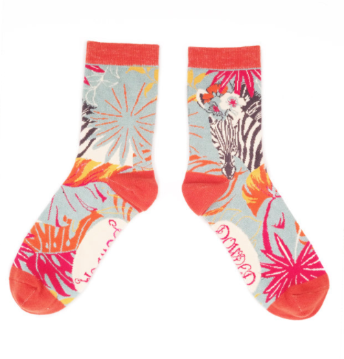 Image of Floral Zebra Crew Socks