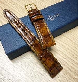 Image of Hand-stitched Antique Tan Alligator watch strap