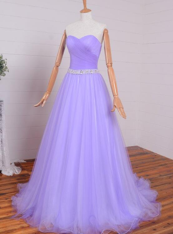 Lavender Tulle Simple Beaded Waist Long Party Dress, Tulle Evening Gown Prom Dress