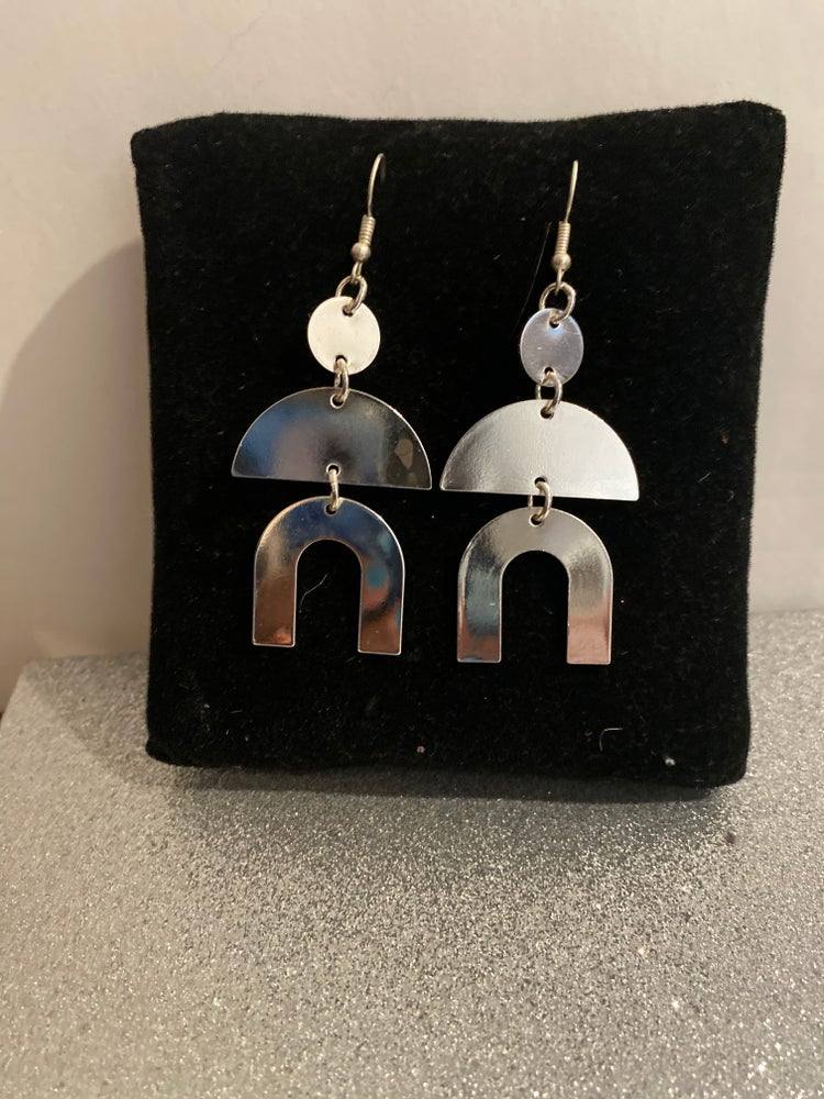 Image of Silver plated geometric earrings