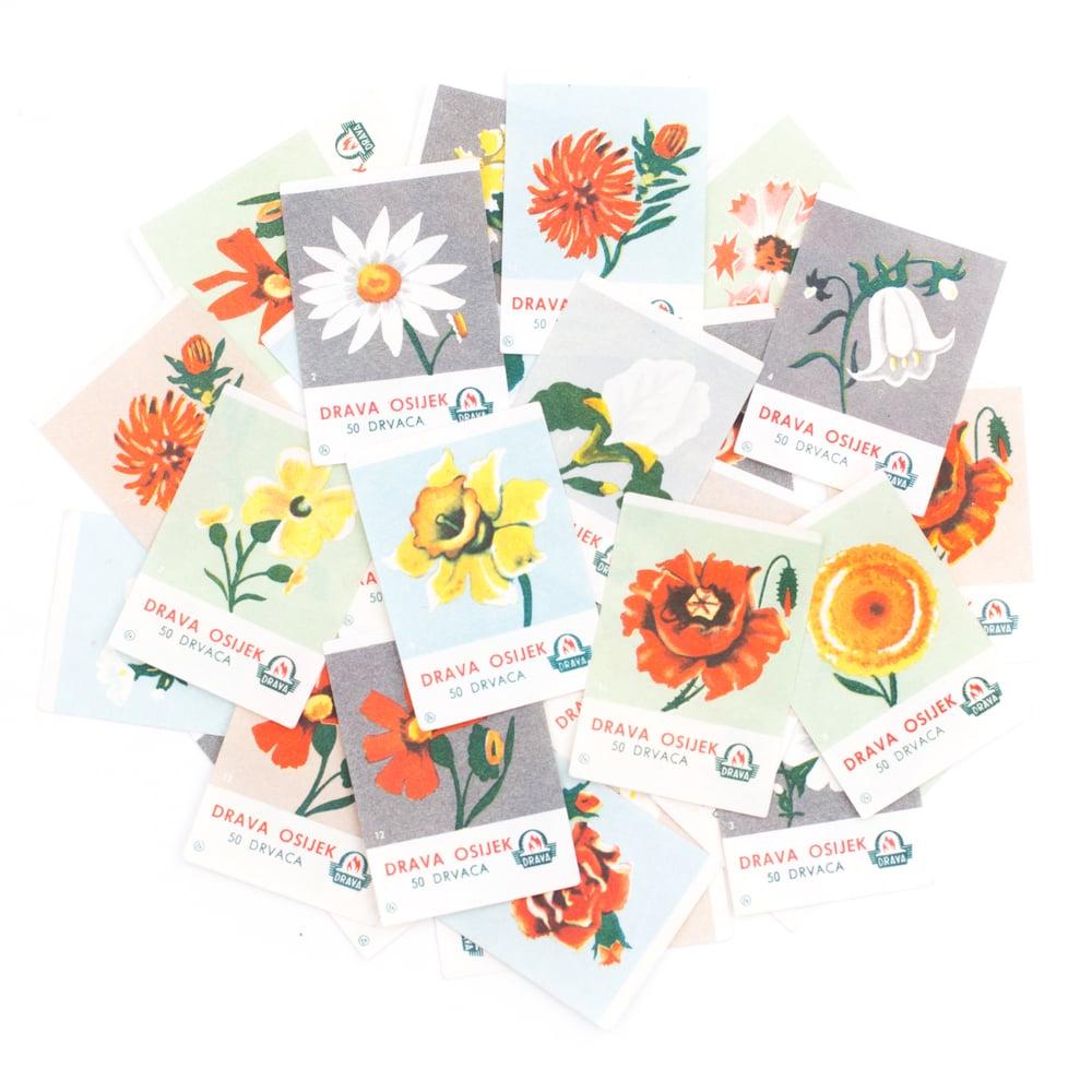 Image of Floral Matchbox Labels - Set of 8