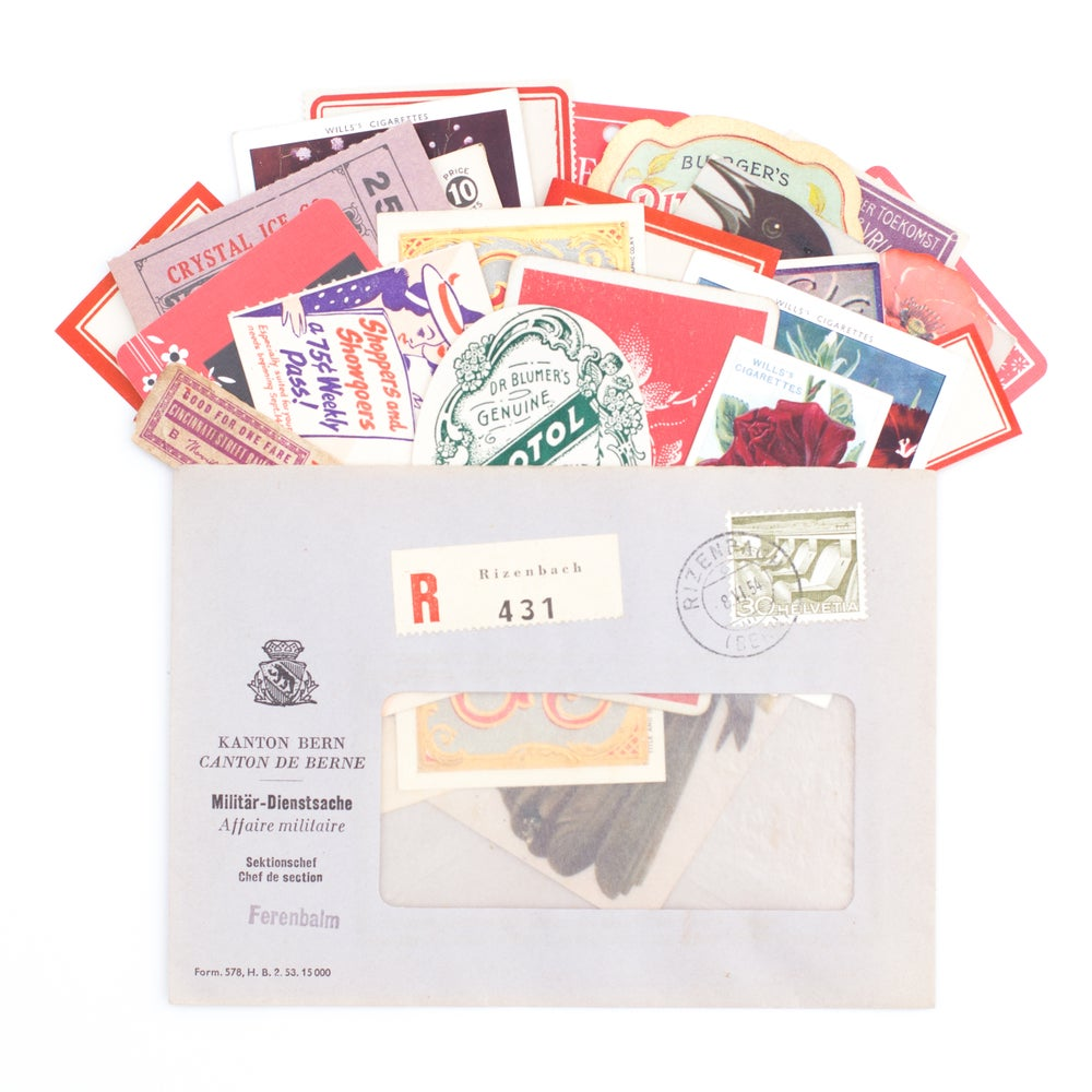 Image of Purple and Red Spring Ephemera in Envelope