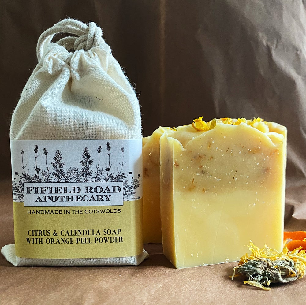 Image of Citrus and Caledula Soap with Orange Peel Powder and Wild Gorse Flowers
