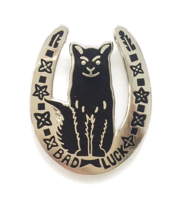 Image of Bad Luck Horseshoe pin badge