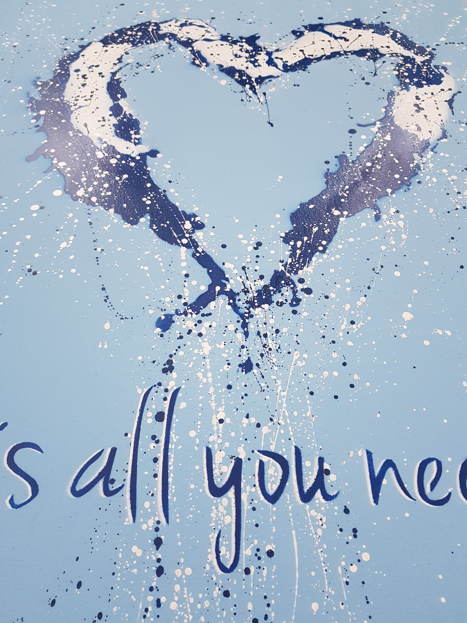 """Image of GRAFTER """"LOVE IS ALL YOU NEED"""" BLUE - HAND PAINTED UNIQUE EDITION OF 20 - 75CM X 57CM"""