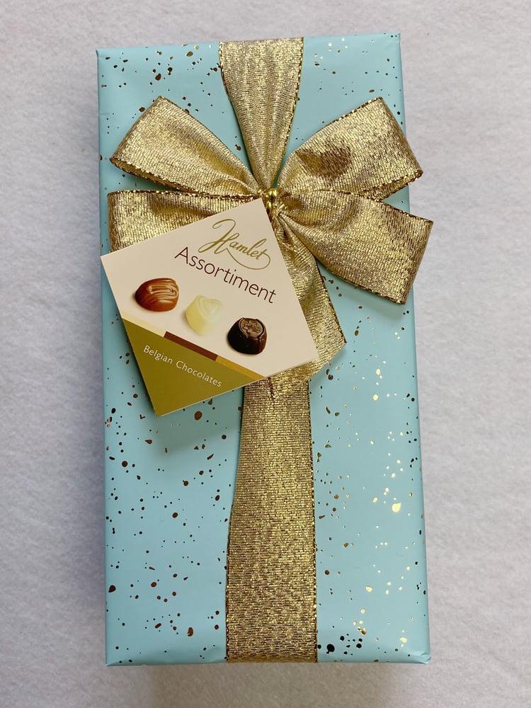 Image of Pastel Wrapped Ballotin - Belgian Milk, Dark & White Chocolates