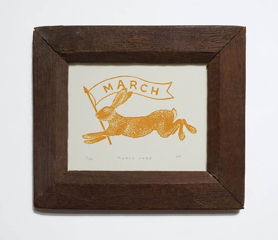 Image of March Hare - Linocut