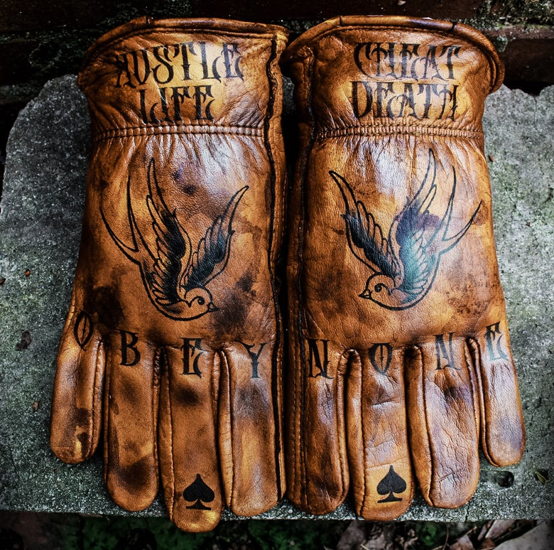 Image of Hustle Life/Cheat Death custom leather gloves