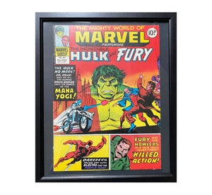 The Mighty World of Marvel Feat Hulk and Fury Comic No 267 Framed