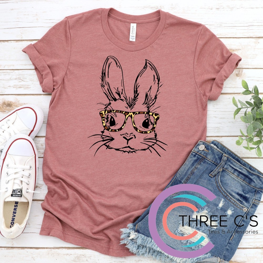 Image of Bunny with Leopard Glasses Tee