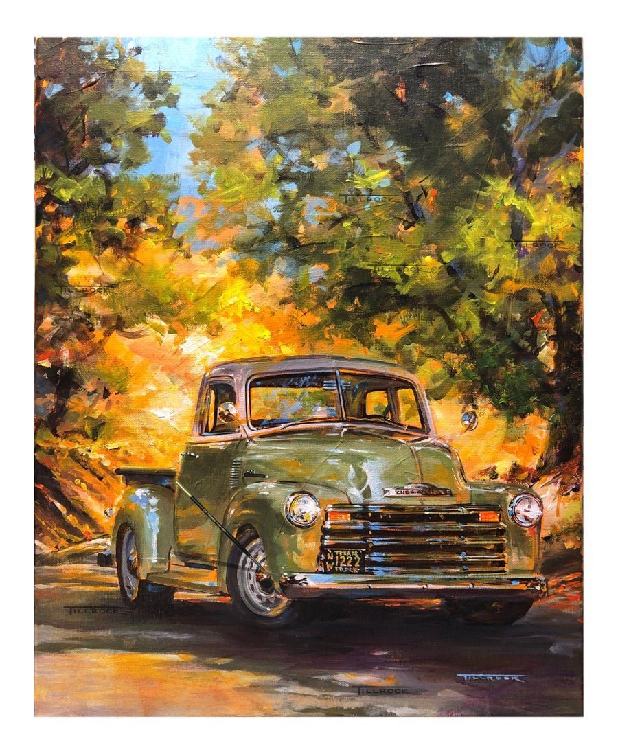 "Image of ""Olive"" 1950 Chevy Thriftmaster Painting (16x20) or (24 x 30) Signed & Numbered Giclee' Prints"