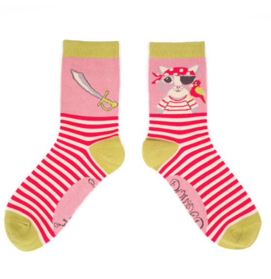 Image of Pirate Kitty Crew Socks