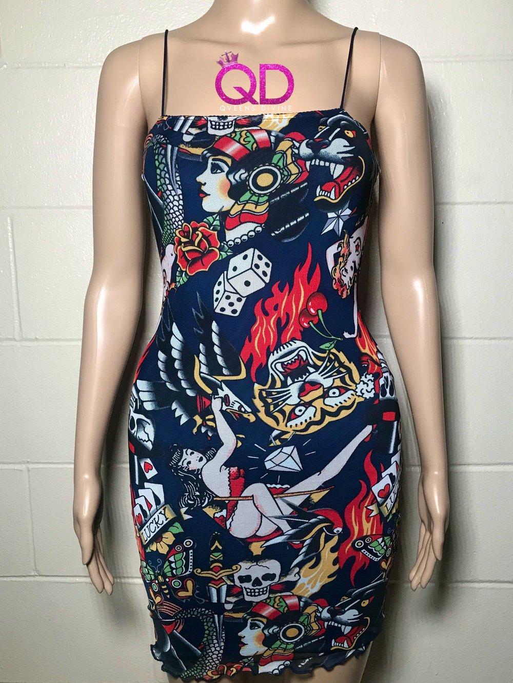 Image of Tattoo Print Mesh Dress