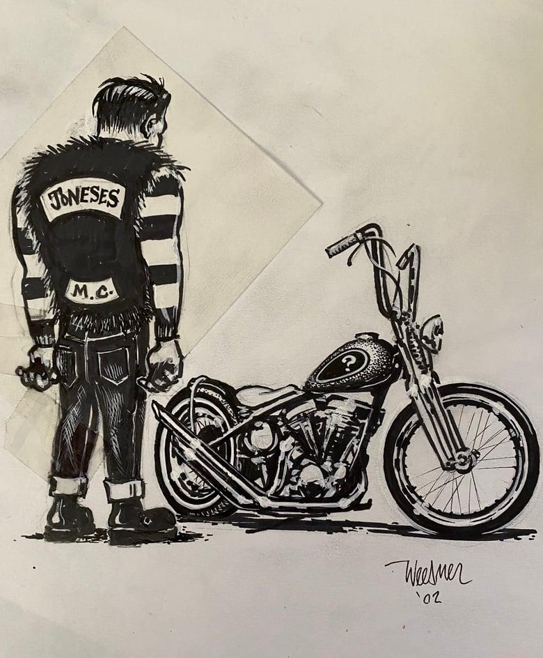 Image of Frankie Biker Preliminary Ink sketch