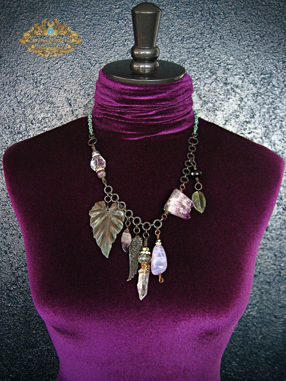 Image of DREAM DAYS - Amethyst Quartz Crystal Asymmetrical Charm Statement Necklace Enchantment Collection