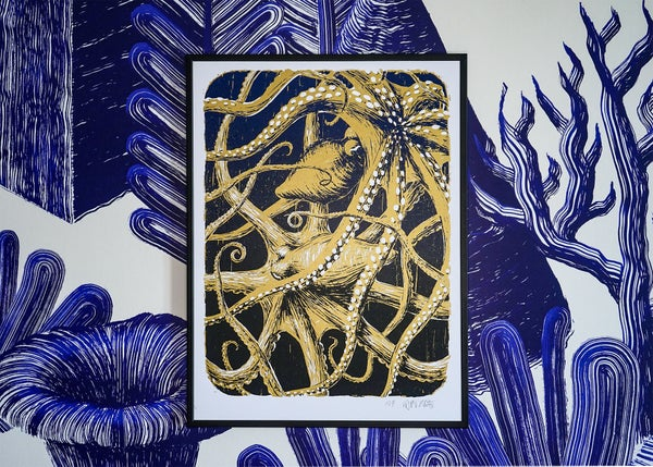"Image of silkscreen print ""Octopuses"" (gold)"