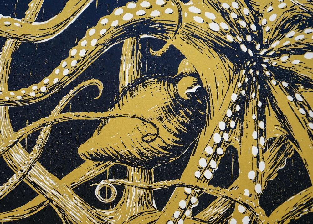 "Image of silkscreen print ""Octopuses"" (gold)"