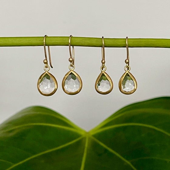 Image of Crystal Quartz Drops set in 22K Gold