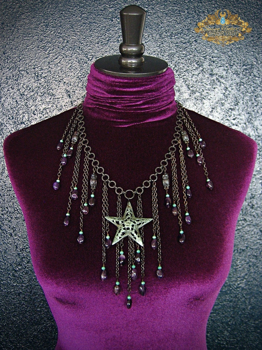 Image of SPIRIT OF THE NIGHT - Amethyst Star Pendant Owl Charm Statement Bib Necklace Enchantment Collection