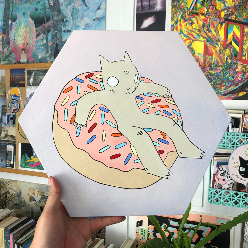 Image of Donut Cat Hex Painting