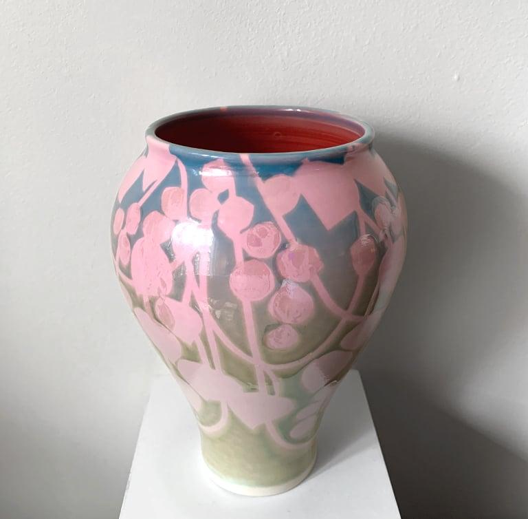 Image of Mother-Of-Pearl 'Pink Vines' Vase