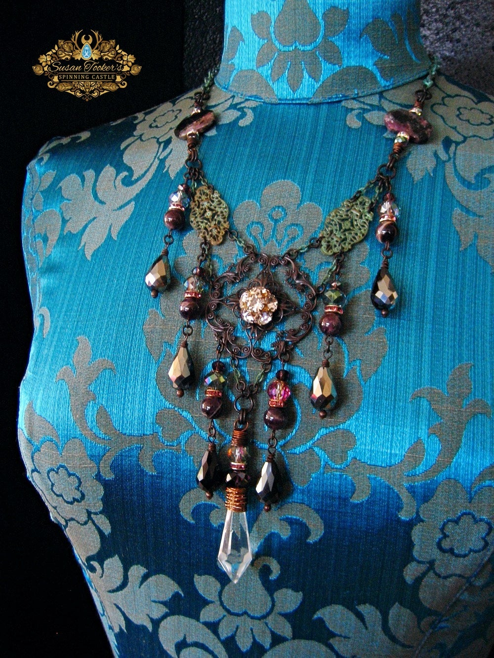 Image of PEACE OF EVENING - Charoite Amethyst Crystal Drop Statement Necklace Enchantment Collection