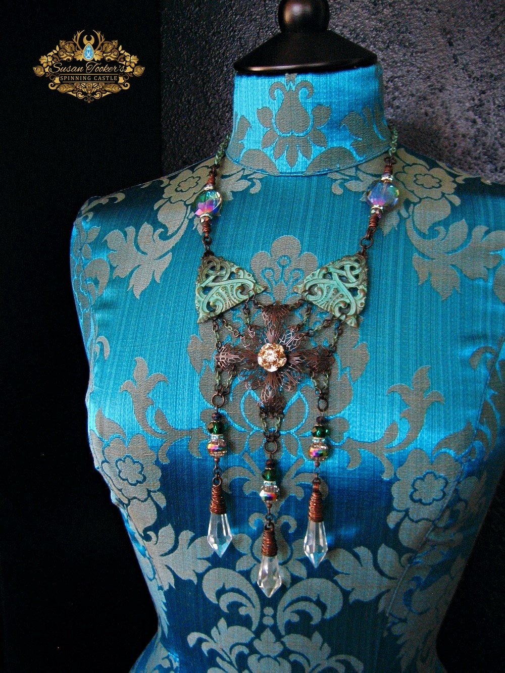 Image of DREAM GARDEN - Crystal Vintage Chandelier Drop Statement Necklace Enchantment Collection