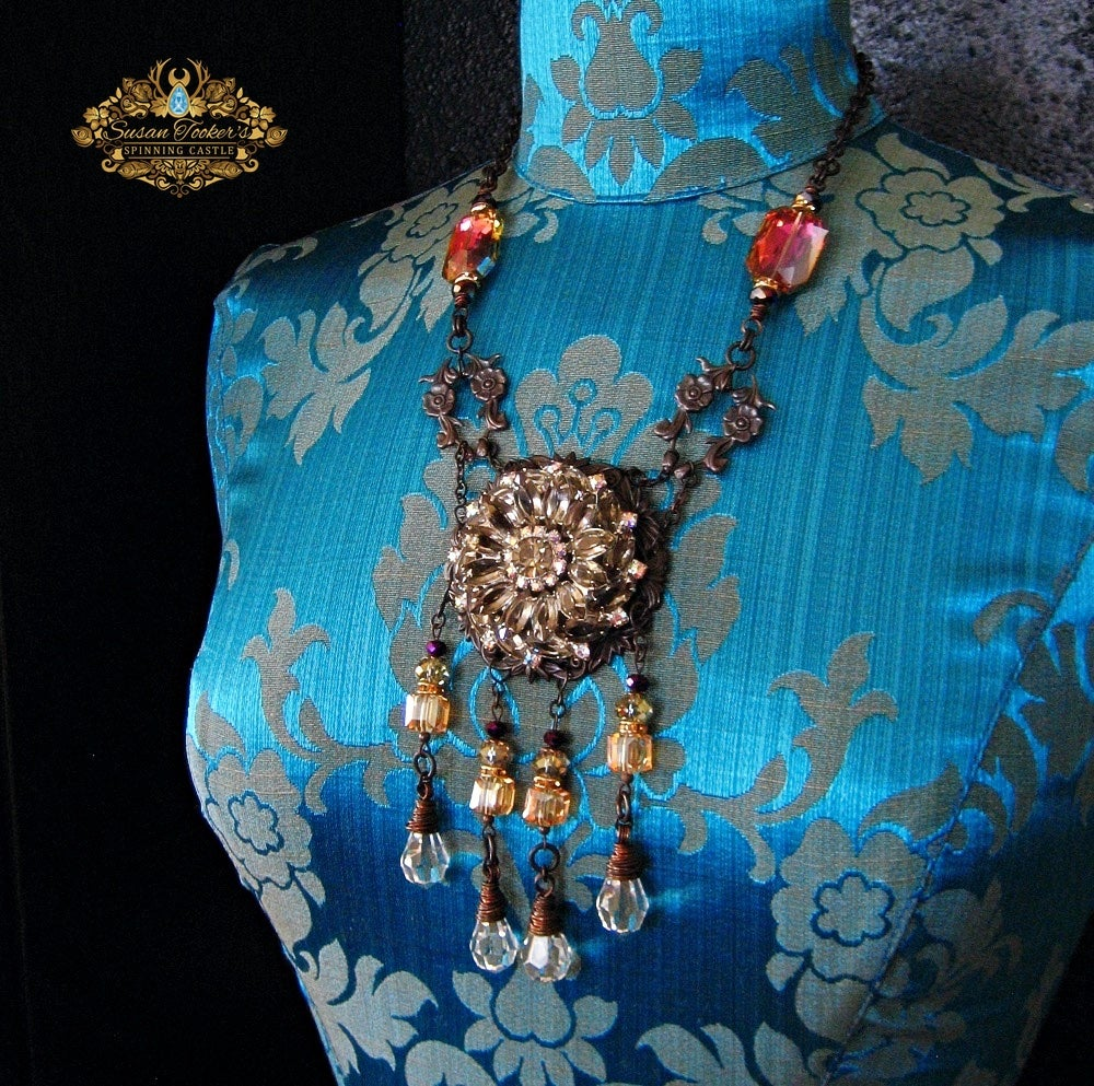 Image of DAYBREAK - Rhinestone Crystal Vintage Chandelier Drop Statement Necklace Enchantment Collection