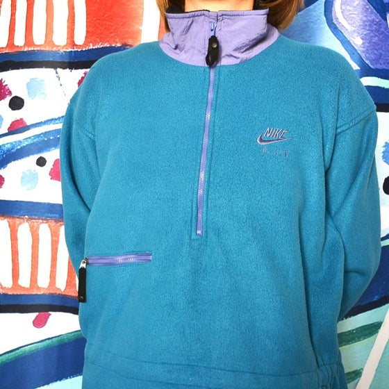 Image of Vintage 1990's Nike F.I.T. Teal & Purple Half Zip Fleece Sweater Sz.S (Women's)