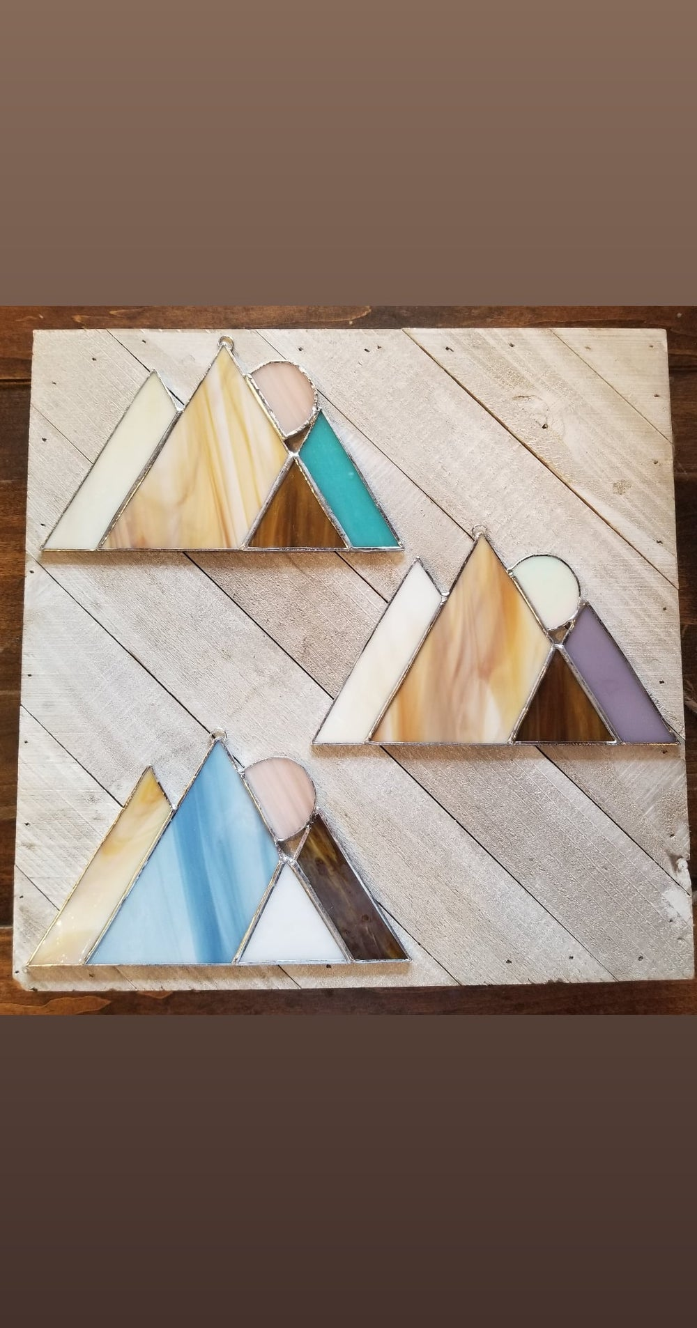 Image of Moon Mountain Range-stained glass