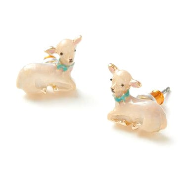 Image of Fable Lamb Enamel Stud Earrings