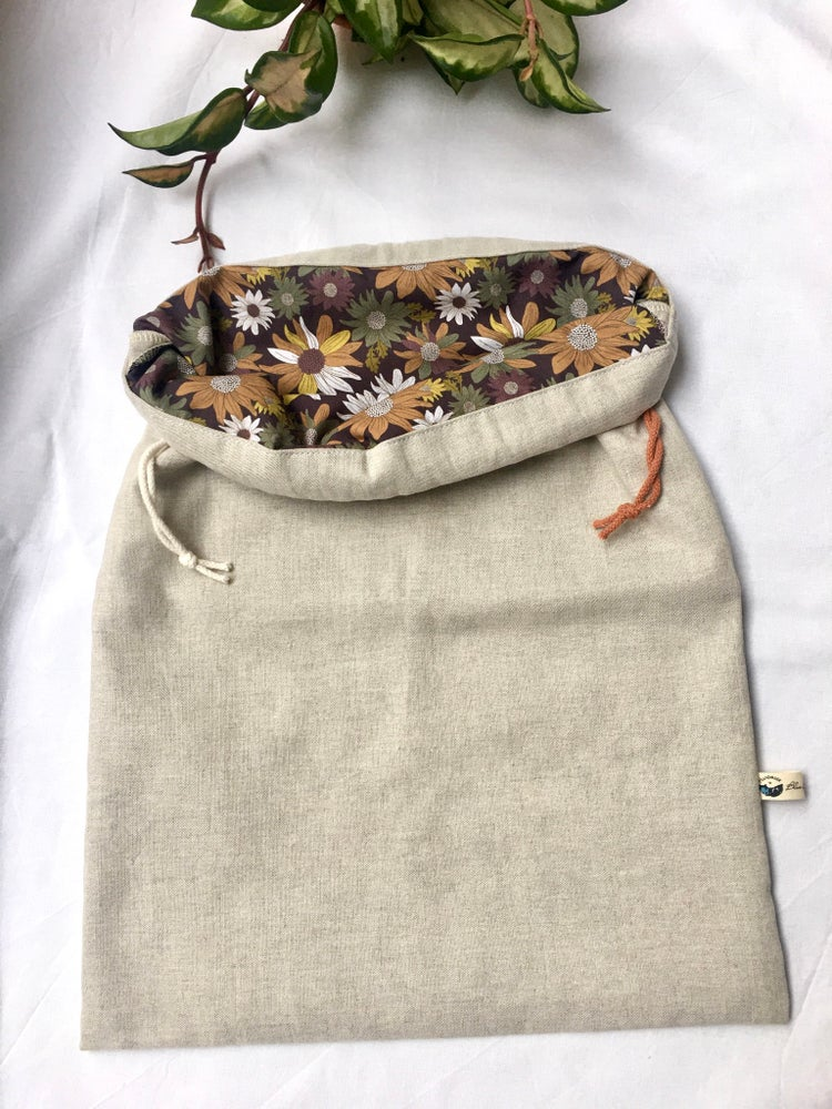 Image of Double Layer Linen and Organic Cotton Bread Bag