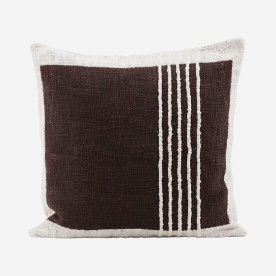 Image of Yarn brown square lines cushion cover