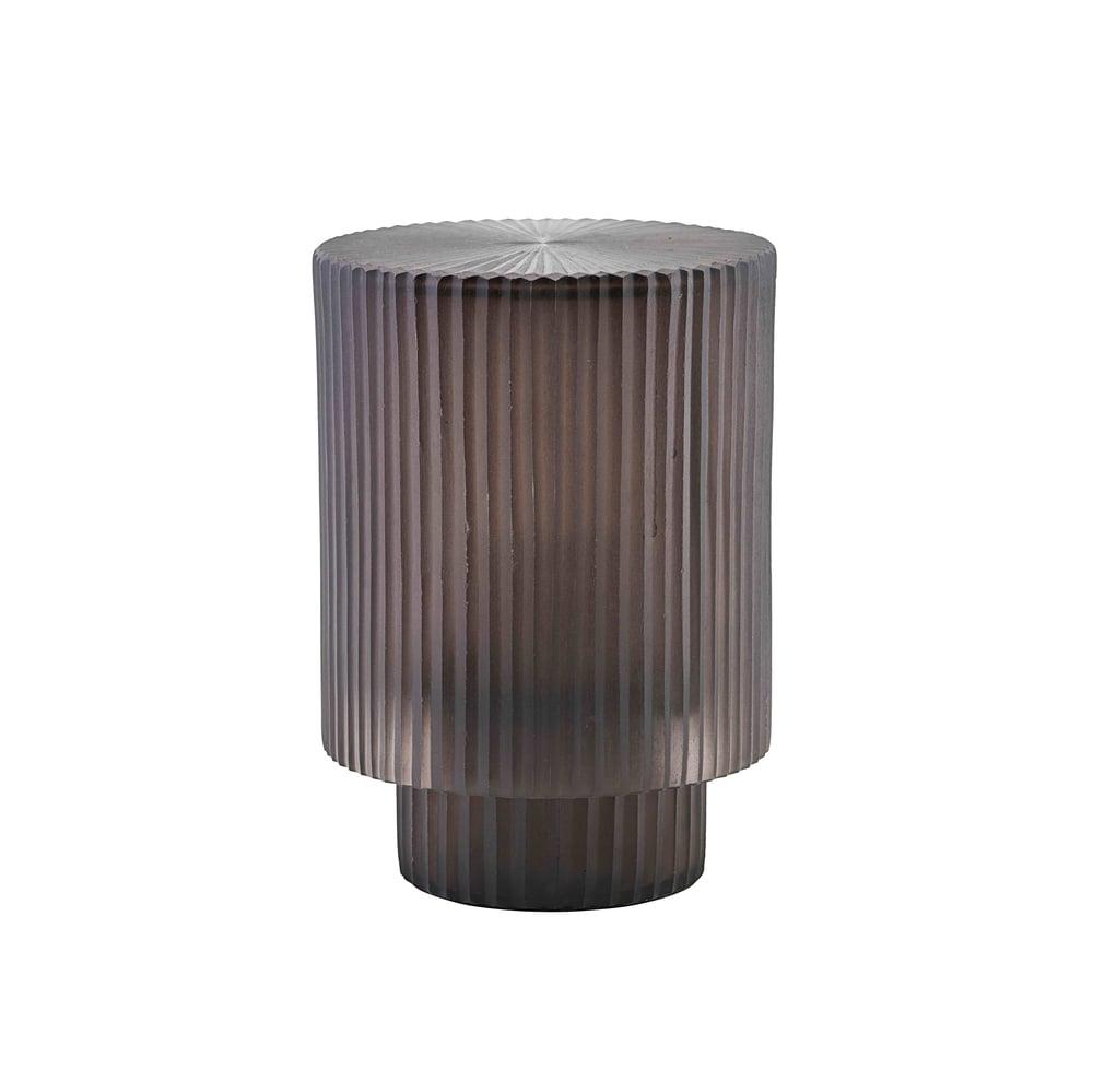 Image of Pedra ribbed grey glass lantern