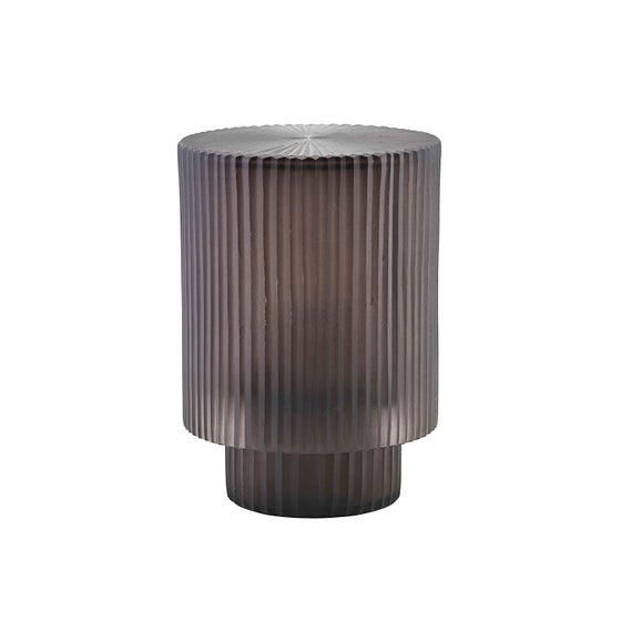Image of Pedra ribbed grey glass lantern
