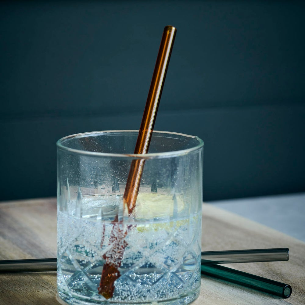 Image of Set of coloured glass straws