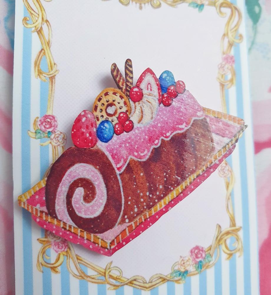 Image of Tiny Teacup Treats - Chocolate Berry Roll Cake