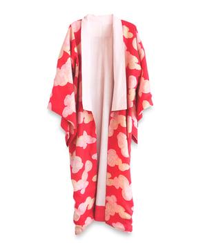 Image of Silkekimono - rød med lyserøde skyer md bolde