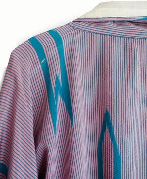 Image of Rosa/turkisblå silkekimono med pilemønster/ 'Too Fairy'