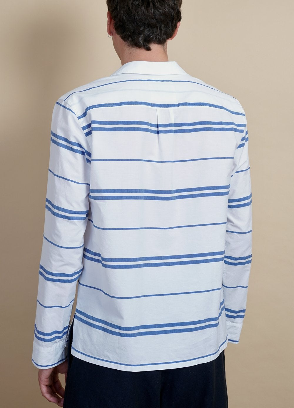 Hansen Garments MARIUS | Casual Pull On Shirt | White Stripes