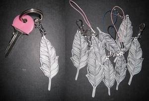 Image of Acrylic 'flock' feather keyring