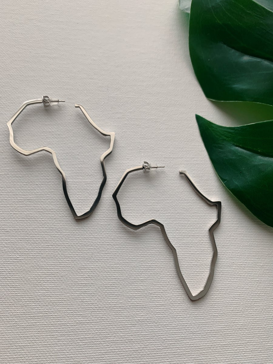 Image of MOTHERLAND DRIP Silver • Africa Earrings