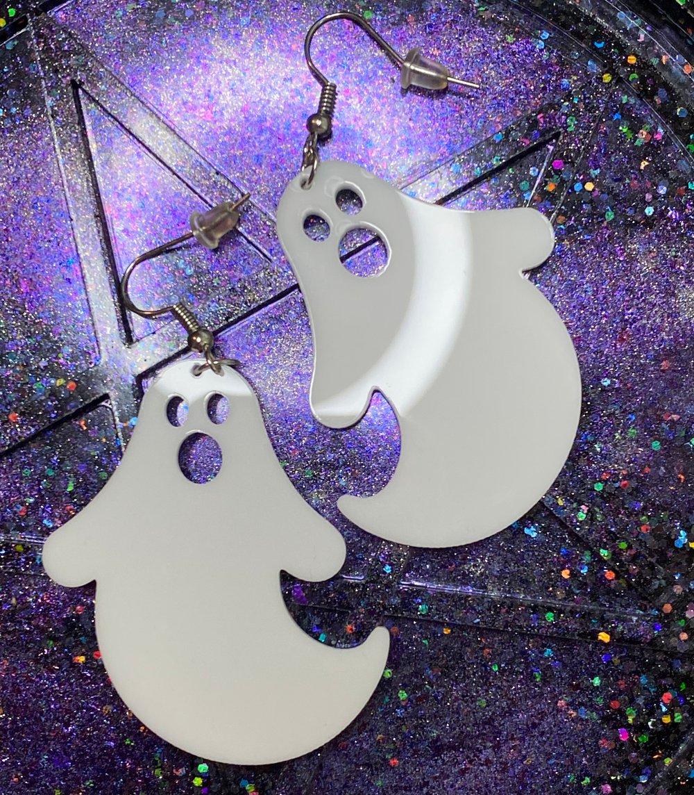Ghost Earrings - White Acrylic