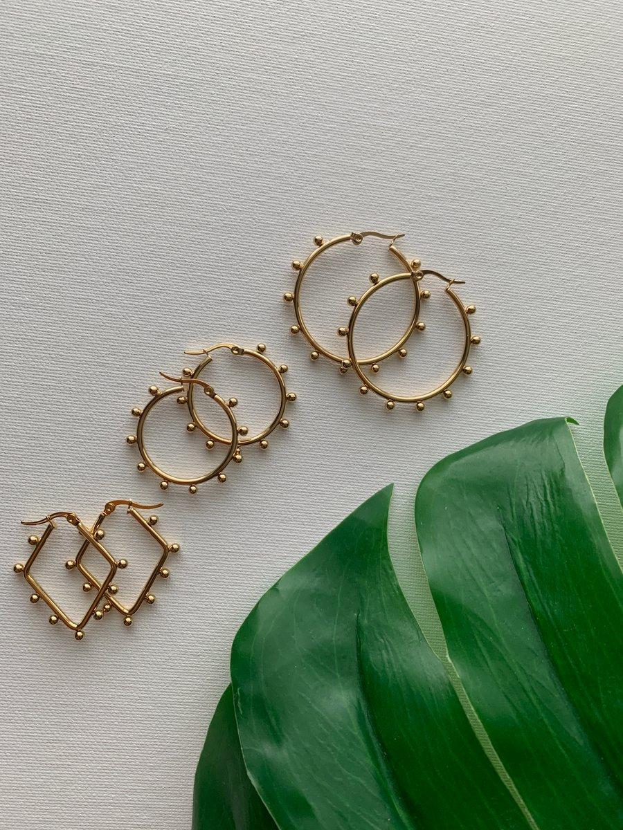 Image of BFF • Dotted Hoop Earrings Set
